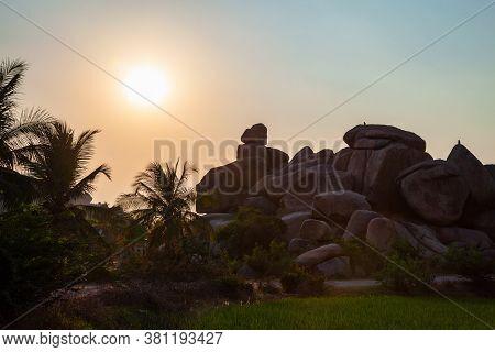Mountain With Boulders At Hampi, The Centre Of The Hindu Vijayanagara Empire In Karnataka State In I