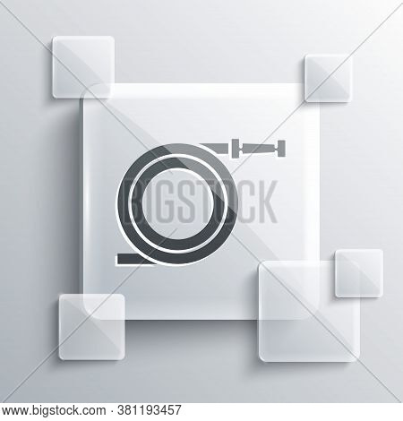Grey Garden Hose Or Fire Hose Icon Isolated On Grey Background. Spray Gun Icon. Watering Equipment.