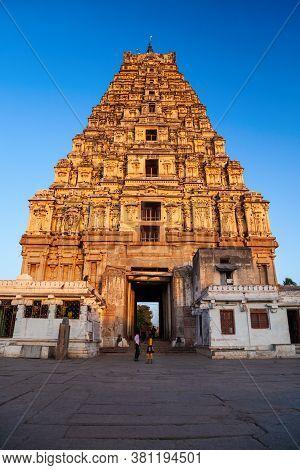 Virupaksha Temple At Hampi, Was The Centre Of The Hindu Vijayanagara Empire In Karnataka State In In