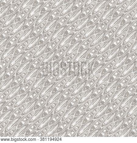 Seamless Gray French Woven Linen Texture Background. Farmhouse Ecru Flax Hemp Fiber Natural Pattern.