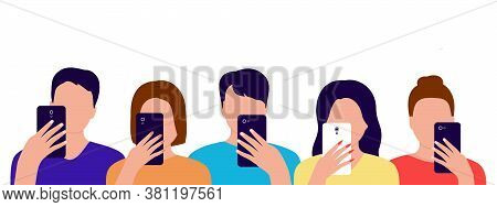 Group Of People With Mobile Phones In Their Hands. Men And Women Spend Time With Smartphone. Interne