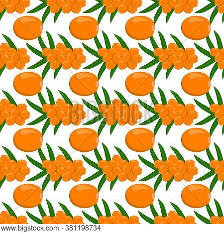 Theme Big Colored Seamless Sea Buckthorn, Bright Berry Pattern For Seal. Berry Pattern Consisting Of