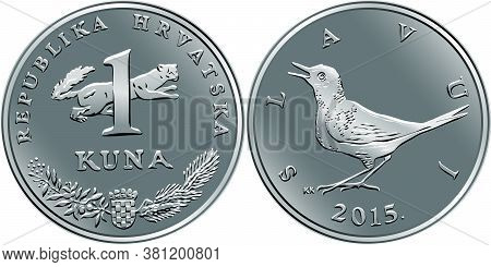 Croatian 1 Kuna Coin, Nightingale On Reverse, Marten, Coat Of Arms, State Title And Indication Of Va