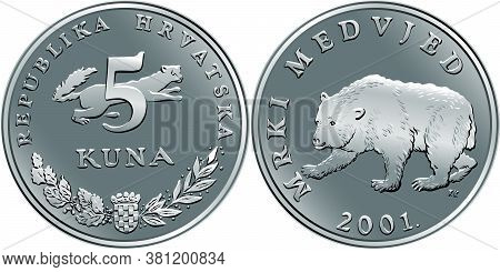 Croatian 5 Kuna Coin, Brown Bear On Reverse, Marten, Coat Of Arms, State Title And Indication Of Val