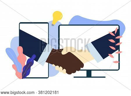 White And Black American People Shaking Hands Through Computer And Mobile Phone Screens. Handshake P