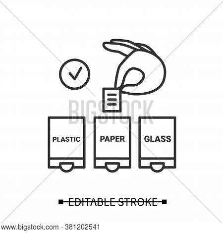 Waste Sorting Icon. Han Putting Paper In Trash Container Linear Pictogram. Concept Of Recycling, Gar