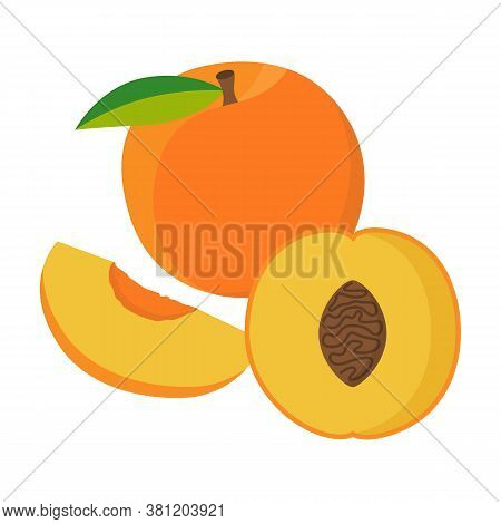 Flat Icon Peach, Half Of Peach And Piece Of Peach Isolated On White Background. Vector Illustration.