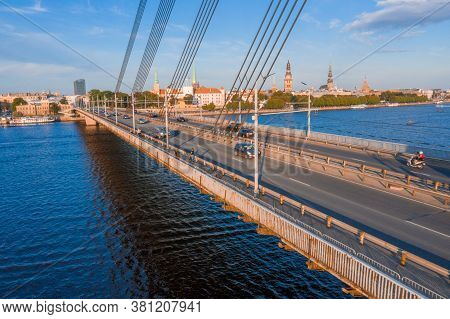 The Vanšu Bridge In Riga Is A Cable-stayed Bridge That Crosses The Daugava River In Riga.