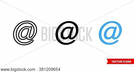 At Internet Symbol Icon Of 3 Types Color, Black And White, Outline. Isolated Vector Sign Symbol.