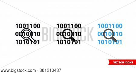 Bit Byte Icon Of 3 Types Color, Black And White, Outline. Isolated Vector Sign Symbol.