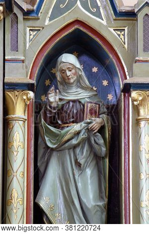 LUKA, CROATIA - SEPTEMBER 16, 2012: St. Anne's statue at Our Lady's altar at St. Roch Church in Luka, Croatia