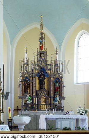 LUKA, CROATIA - SEPTEMBER 16, 2012: Main altar at St. Roch Church in Luka, Croatia