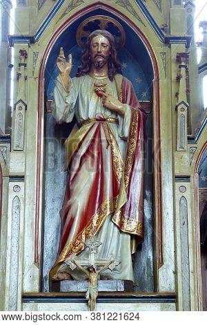 LUKA, CROATIA - SEPTEMBER 16, 2012: Sacred Heart of Jesus altar at St. Roch Church in Luka, Croatia