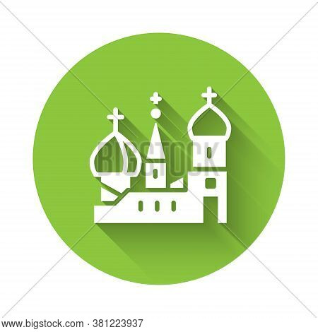 White Moscow Symbol - Saint Basils Cathedral, Russia Icon Isolated With Long Shadow. Green Circle Bu