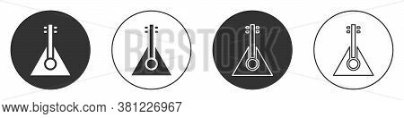 Black Musical Instrument Balalaika Icon Isolated On White Background. Circle Button. Vector