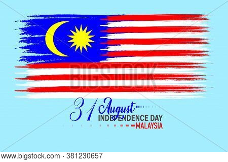 Malaysian Flag In Fabric. 31 August Malaysia Independence Day Vector Illustration. Wave Effect.