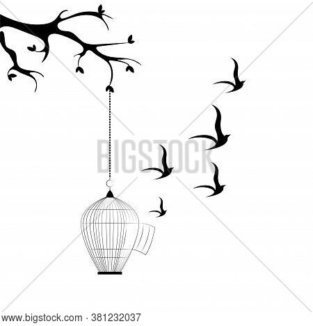 The Flight Of Birds From An Open Cage Hanging From A Tree. Freedom Vector