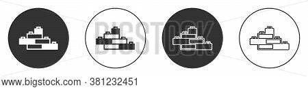 Black Toy Building Block Bricks For Children Icon Isolated On White Background. Circle Button. Vecto