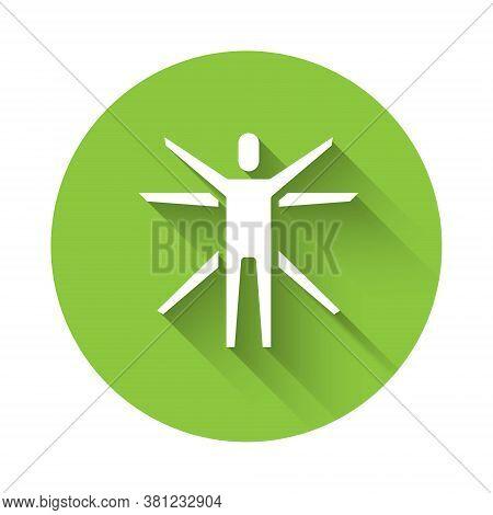 White Vitruvian Man By Leonardo Da Vinci Icon Isolated With Long Shadow. Human Anatomy. Green Circle