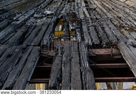 Old Wooden Boards. Old Boards With Nails. Burnt Boards With Nails. Leading Lines From Boards.