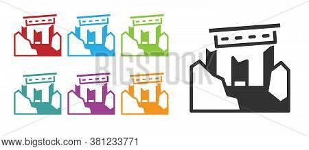 Black Ancient Ruins Icon Isolated On White Background. Set Icons Colorful. Vector