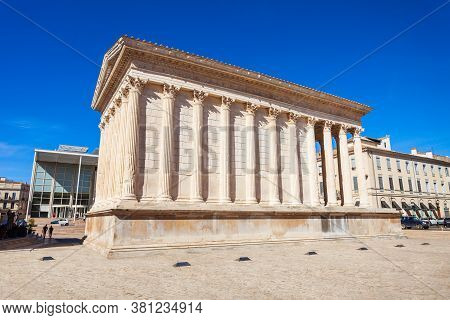 Maison Carree Is An Ancient Roman Temple Building In Nimes City In Southern France