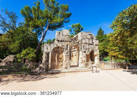 Diana Temple Is An Ancient Roman Temple In Les Jardins De La Fontaine Public Park In Nimes City In S