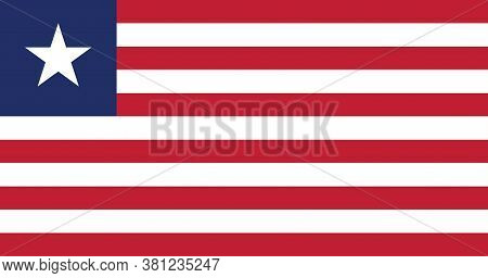 National Liberia Flag, Official Colors And Proportion Correctly. National Liberia Flag. Vector Illus