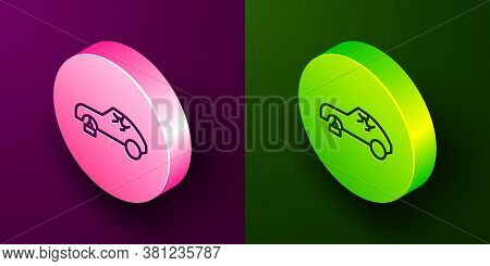 Isometric Line Broken Car Icon Isolated On Purple And Green Background. Car Crush. Circle Button. Ve