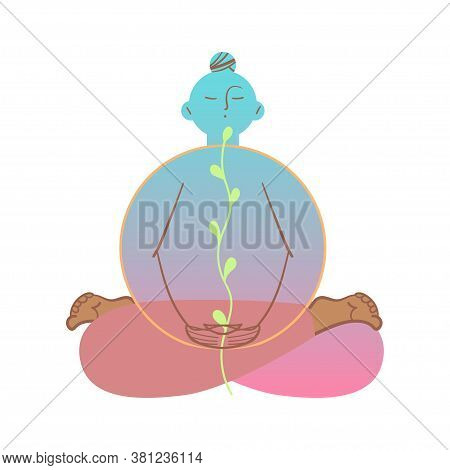 Vector Illustration Depicting The Emotions Of Calmness And Peace.