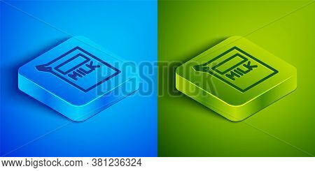 Isometric Line Paper Package For Milk Icon Isolated On Blue And Green Background. Milk Packet Sign.
