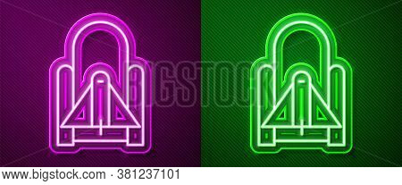 Glowing Neon Line Rocket Launch From The Spaceport Icon Isolated On Purple And Green Background. Lau