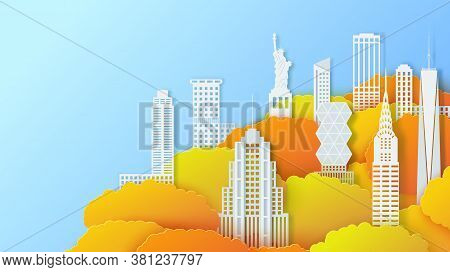 New York City Landmark In Autumn Season In Paper Cut Stile. 3d Vector Yellowed Tree Crowns And White