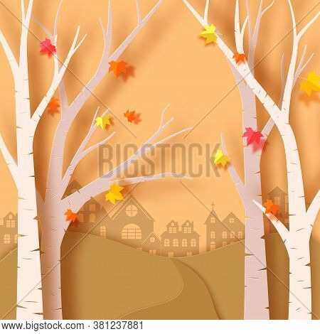 Autumn Season In The Forest In Paper Art Style. In Autumn, Trees And Leaves Are Cut Out Of Paper. La