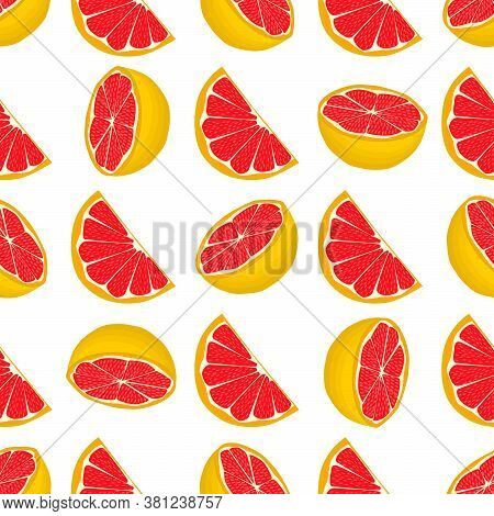 Illustration On Theme Big Colored Seamless Grapefruit, Bright Fruit Pattern For Seal. Fruit Pattern