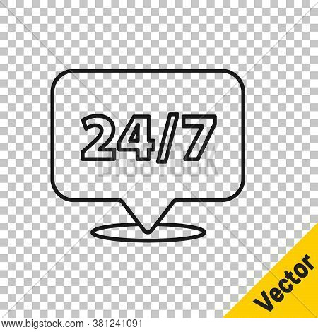 Black Line Clock 24 Hours Icon Isolated On Transparent Background. All Day Cyclic Icon. 24 Hours Ser