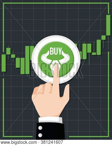 Bullish Stock Market Vector. Fund, Forex Or Commodity Price Charts. Design By Financial Chart Elemen