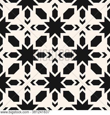 Vector Geometric Seamless Pattern. Abstract Black And White Texture With Stars, Crosses, Diamonds, G