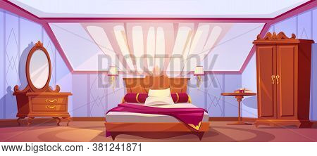 Attic Bedroom Or Guest Room Interior With Uncovered Bed, Wardrobe, Dressing Table, Mirror And Curtai