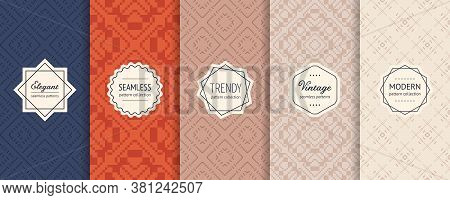 Vector Set Of Vintage Seamless Patterns In Traditional Ethnic Style. Retro Geometric Ornaments In Tr
