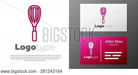 Logotype Line Kitchen Whisk Icon Isolated On White Background. Cooking Utensil, Egg Beater. Cutlery
