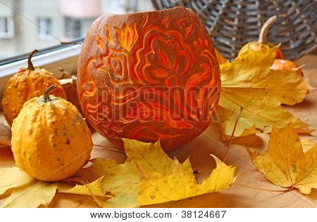 Excision From The Pumpkin Of Decorative Lantern On Halloween.