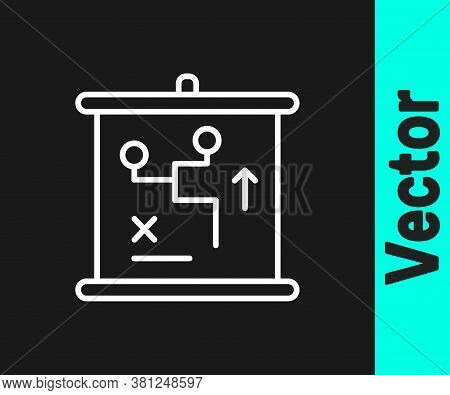 White Line Planning Strategy Concept Icon Isolated On Black Background. Cup Formation And Tactic. Ve