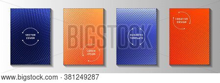Abstract Point Perforated Halftone Title Page Templates Vector Batch. School Booklet Faded Halftone