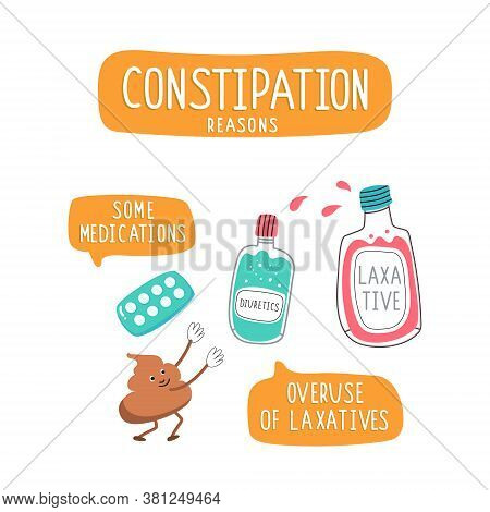 Cartoon Poop Reaches For A Bottle Of Laxative. Illustrations Of Laxatives For Constipation. Problems