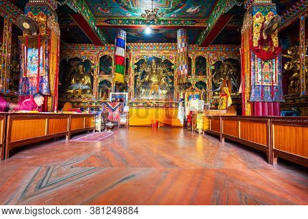 Kathmandu, Nepal - March 01, 2014: Boudhanath Temple Interior, Located Near The Boudhanath Great Stu