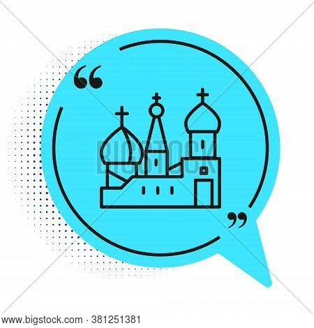 Black Line Moscow Symbol - Saint Basils Cathedral, Russia Icon Isolated On White Background. Blue Sp