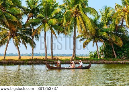 Alappuzha, India - March 18, 2012: Unidentified People Sailing Boat In Alappuzha Backwaters In Keral