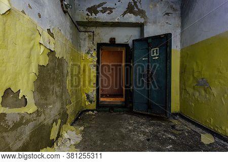Opened Heavy Steel Armored Hermetic Door In The Soviet Bomb Shelter