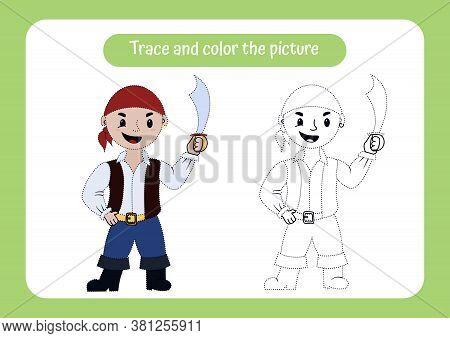 Little Smiling Pirate With Saber. Trace And Color The Picture. Educational Game For Children. Handwr